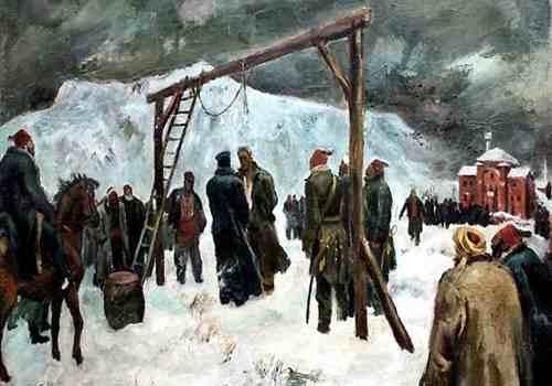 """""""Казнь Васила Левского"""", худ. Борис Ангелушев, 1942 г."""