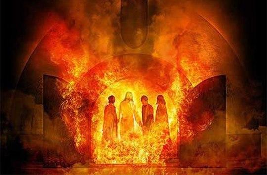 Анания Михаил и Азария в печи с ангелом
