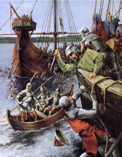 Крестоносцы бегущие из под Никополя пытаются спастись на кораблях Дунайской флотилии