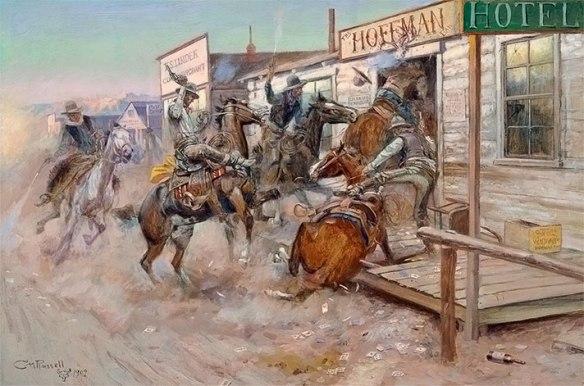 Пьяные ковбои вламываются на лошадях в салун