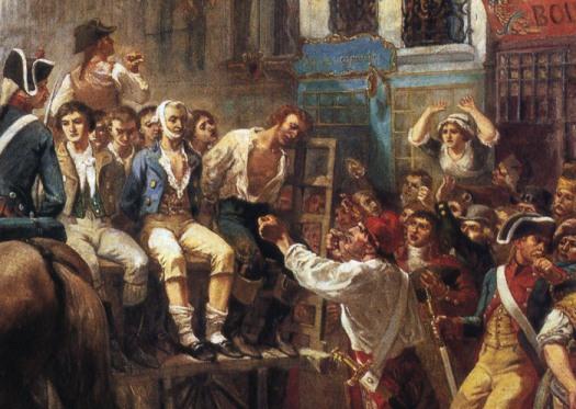 Робеспьера и Сен-Жюста везут на казнь