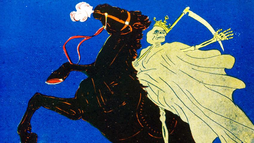 Французская карикатура, изображающая холеру в России в 1830-е