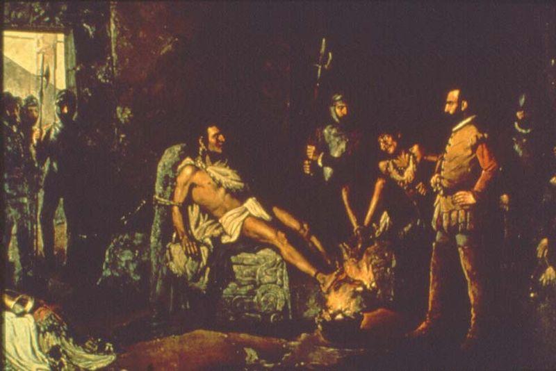 Картина Леандро Исагирре. «Пытка Куаутемока»
