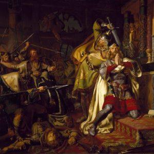 Картина К. А. фон Бензона. «Смерть Кнуда Святого»