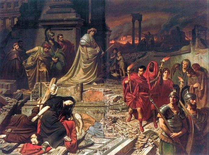 Картина Карла Теодора фон Пилоти. «Нерон смотрит на горящий Рим».