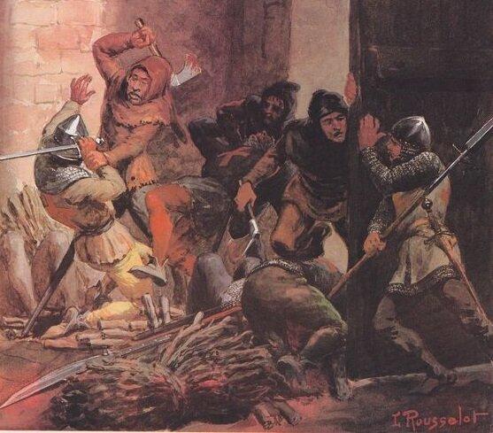 По разным данным, в Чезене погибли от 3000 до 8000 простых жителей. Долгое время после резни город не мог оправиться. Иллюстратор: Lucien Rousselot